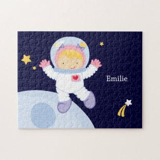 Astronauten-Mädchen-Kindes personalisiert Foto Puzzle