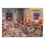Atelier vintage de Noël, du père noël et d'elfes Cartes De Vœux