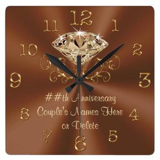 Atemberaubende personalisierte Jahrestags-Uhren Quadratische Wanduhr