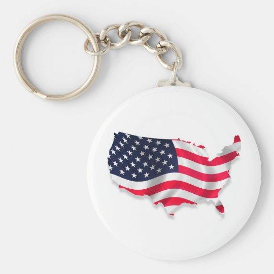 Atemberaubende USA-Land-Flagge Standard Runder Schlüsselanhänger