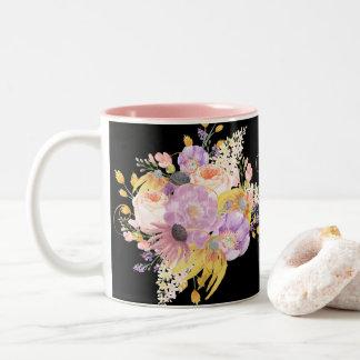 Atemberaubender bunter Watercolor-BlumenTasse für Zweifarbige Tasse