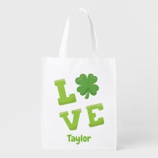 Atemberaubender Liebe-Block, der Tag St. Patricks Wiederverwendbare Einkaufstasche