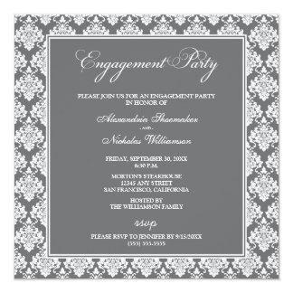 Atemberaubendes Damast-Verlobungs-Party laden ein Quadratische 13,3 Cm Einladungskarte