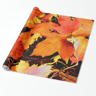 Atemberaubendes mutiges orange Herbst-Blätter Geschenkpapier