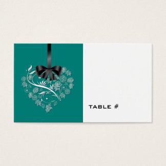 Atemlose Hochzeits-Platzkarte - Pfau Visitenkarte