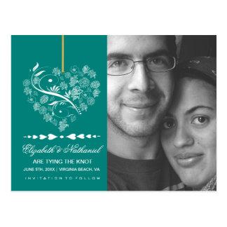 Atemloser SAVE THE DATE Postkartenpfau Postkarte
