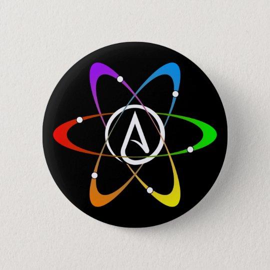 Atheistisches Atom-Symbol Runder Button 5,1 Cm