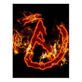 Atheistisches Feuer-Symbol Postkarte