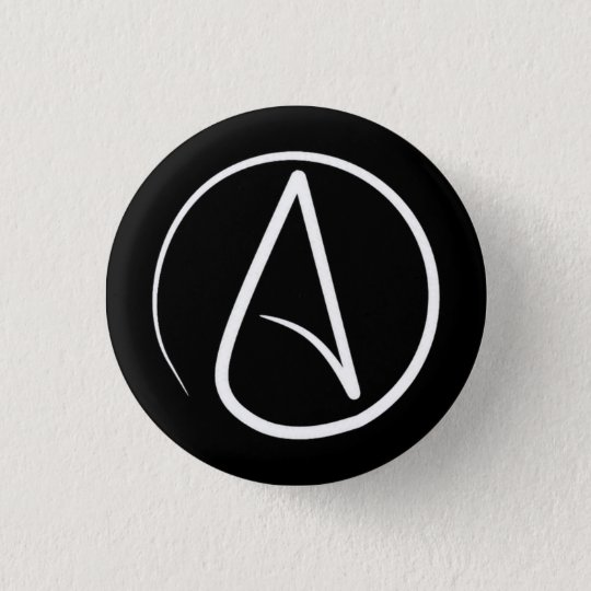 Atheistisches Symbol: Weiß auf Schwarzem Runder Button 3,2 Cm