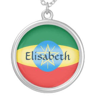 Äthiopien-Flagge + Namenshalskette Halskette Mit Rundem Anhänger