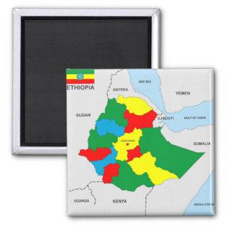 Äthiopien-Landkartenflagge Quadratischer Magnet