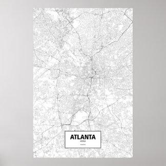 Atlanta, Georgia (Schwarzes auf Weiß) Poster