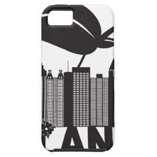 Atlantaskyline-Pfirsich-Hartriegel-Schwarz-weißer iPhone 5 Etuis