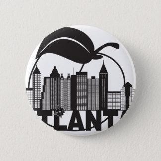 Atlantaskyline-Pfirsich-Hartriegel-Schwarz-weißer Runder Button 5,7 Cm
