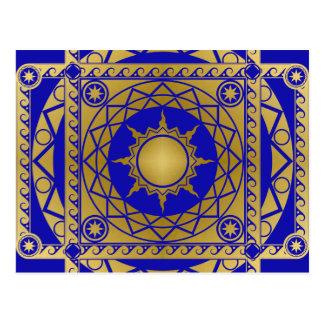 Atlantean Handwerk Messing auf Blau Postkarte