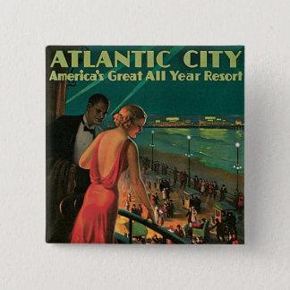 Atlantic City ~ das ganze Jahr Erholungsort Quadratischer Button 5,1 Cm