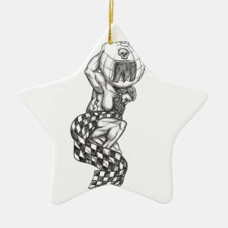 Atlas-anhebende Kugel, die Flaggen-Tätowierung Keramik Ornament