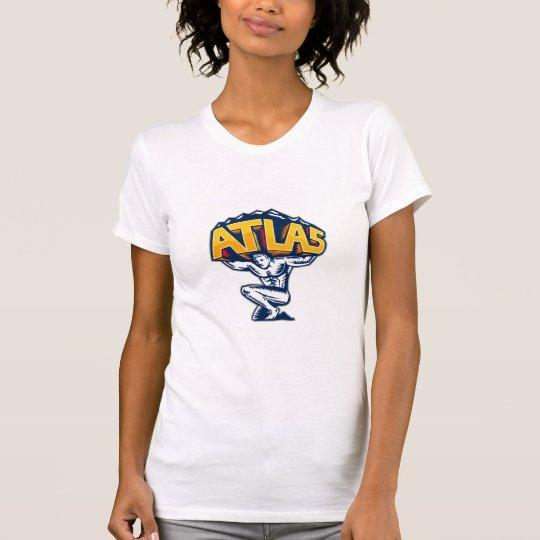 Atlas-anhebender Gebirgsknienholzschnitt T-Shirt