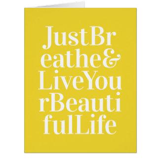 Atmen Sie einfach die Bestimmtheit, die Zitat-Gelb Karte