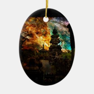 Atmen Sie wieder Bali Ovales Keramik Ornament