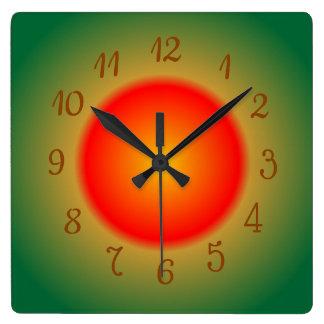 Atmosphärisches Orange/rot und grün > Küchen-Uhren Quadratische Wanduhr