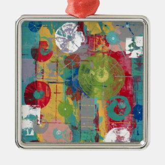 AtomOrbital Quadratisches Silberfarbenes Ornament