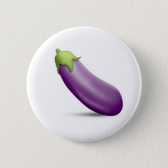 Aubergine Emoji Knopf Runder Button 5,7 Cm