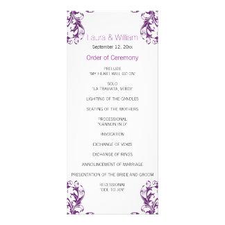 Auberginen-lila Damast-Hochzeits-Programm Vollfarbige Werbekarte