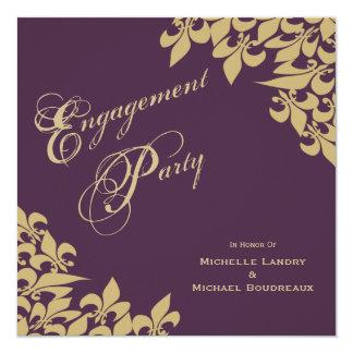 Auberginen-lila GoldLilien-Verlobungs-Party Quadratische 13,3 Cm Einladungskarte