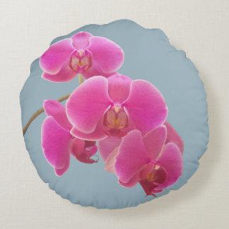 Auf Blau zu malen Orchideen-Foto, Rundes Kissen