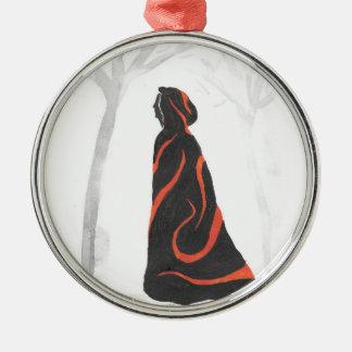 Auf der Weise zum Ritual Rundes Silberfarbenes Ornament