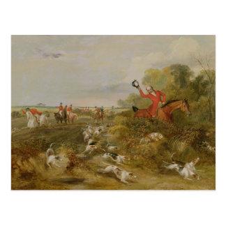 Auf Jagdhunden mit einer Kappe bedecken, der Hall Postkarte