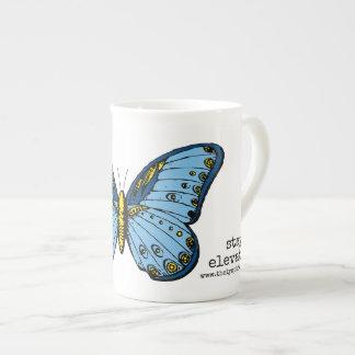 """""""Aufenthalt erhöhte"""" blaue Schmetterlings-Tasse Prozellantasse"""