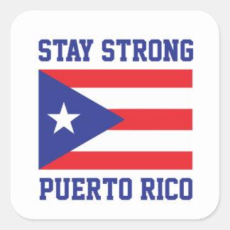 Aufenthalt starkes Puerto Rico Quadratischer Aufkleber