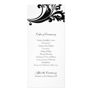 Auffallendes Schwarzweiss-Hochzeits-Programm Individuelle Werbekarte