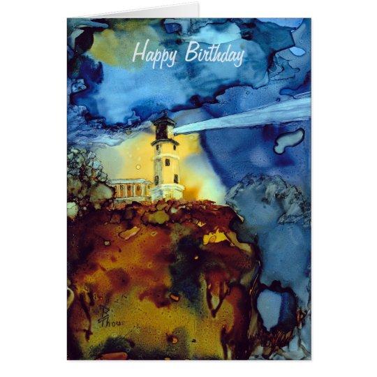 Aufgeteilter Felsen-Leuchtturm nachts Grußkarte
