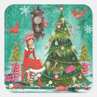 Aufkleber des Weihnachtsfeiertags-girly Baum-|