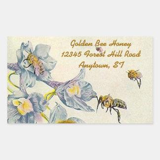 Aufkleber-Honig-Bienen-Winden-Blumen-Imker Rechteckiger Aufkleber