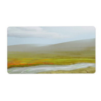 Aufkleber-hügelige Gras-Landschaft Großer Adressaufkleber