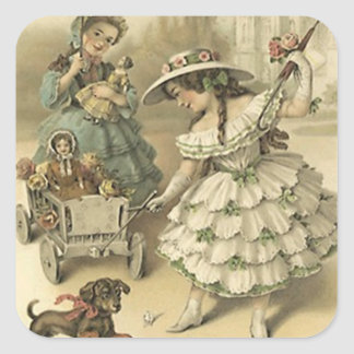 Aufkleber-Vintage viktorianische Reise-Haustier-u. Quadratischer Aufkleber