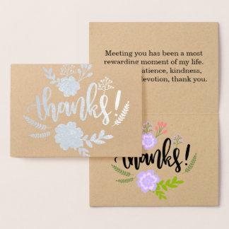 Aufrichtige die Blumentypographie der silbernen Folienkarte