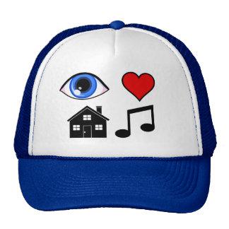 Augen-Liebe-Haus-Musik Baseballcaps