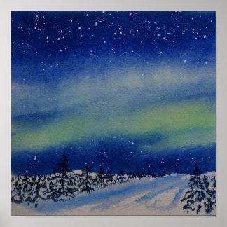 Aurora Borealis an der Nacht und am Schnee Poster