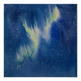 Aurora Borealis Aquarellmalerei Poster