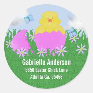 Ausbrüten der Baby-Ente: Adressen-Aufkleber Runder Aufkleber