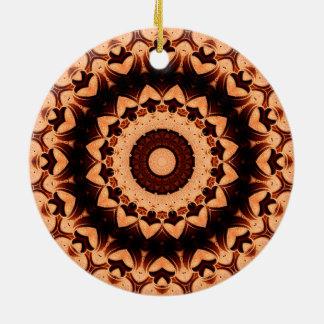 "Ausführliche ""Schokoladen-Herz-"" Mandala Rundes Keramik Ornament"
