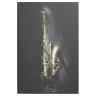Ausgezeichnetes MessingSaxophon auf schwarzem Galerieleinwand