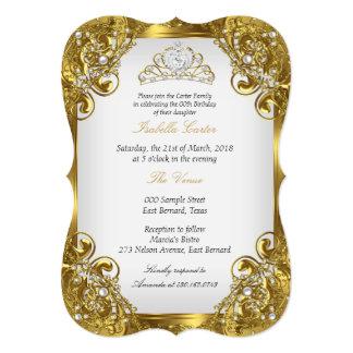 Auslese-goldenes weißes 12,7 x 17,8 cm einladungskarte