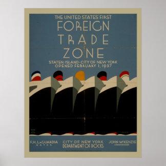 Außenhandel-Zonen-Vintages Plakat