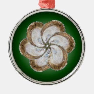 Austern-Blumen-Verzierung - Entwurf C Silbernes Ornament